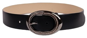 Other Black Leather Belt with Rhinestone Buckle