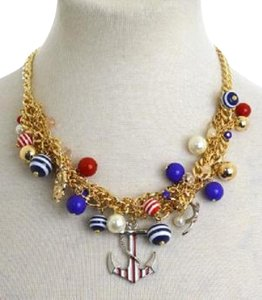 Other Sealife Fashion Statement Gold Tone Multichain Pearl Accent Anchor Charm Necklace