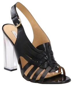 Diane von Furstenberg Black Clear Sandals