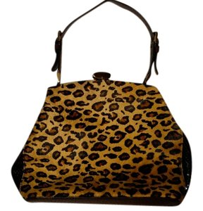 Adrienne Vittadini Framed Haircalf Satchel in Brown and Leopard Print