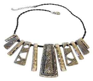 Stately Steel Stainless Steel Braided Leather Necklace with 2