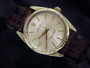 Rolex Mens Rolex 14k Gold Shell Oyster Perpetual No-date Watch Brown Champagne 1024