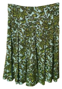 Merona Pleated Floral Summer Skirt Blue, green print