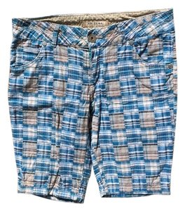 Arizona Jean Company Bermuda Shorts Blue, Grey, Tan and White Plaid