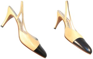 Chanel Heels Two Tone 7.5 Slingbacks Beige and Black Formal