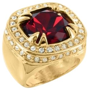 Other Stainless Steel Ruby Ring Solitaire Mens 14k Yellow Gold Tone Lab Diamonds Sale