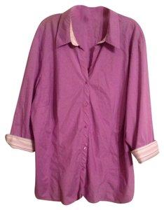 Worthington Women Stretch Button Down Shirt Light purple with white