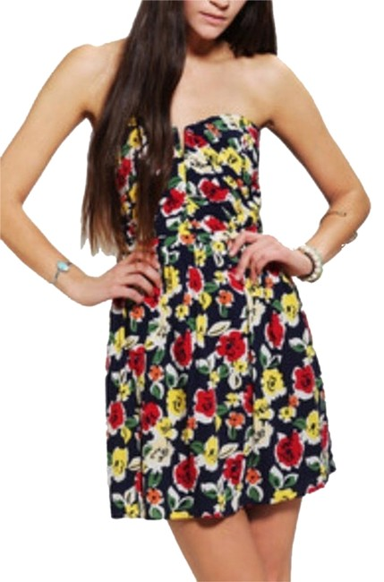 Kimchi Blue short dress Multi Urban Outfitters Uo Urban Outfitters Floral Color Flower Summer Spring Colorful Ruched Ruched Ruched Bodice V on Tradesy