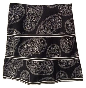 Other Floral Print A-line Skirt Black and white