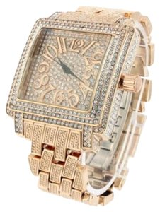 Rose Gold Finish Iced Out Lab Diamond Number Square Dial Wrist Watch Metal Band