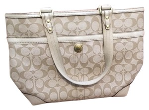 Coach Tote in Tote Tan Color with Pink Center Stripe