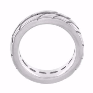 Mens 14k White Gold On Stainless Steel Tire Track Style Pinky Ring Band 8mm Sale