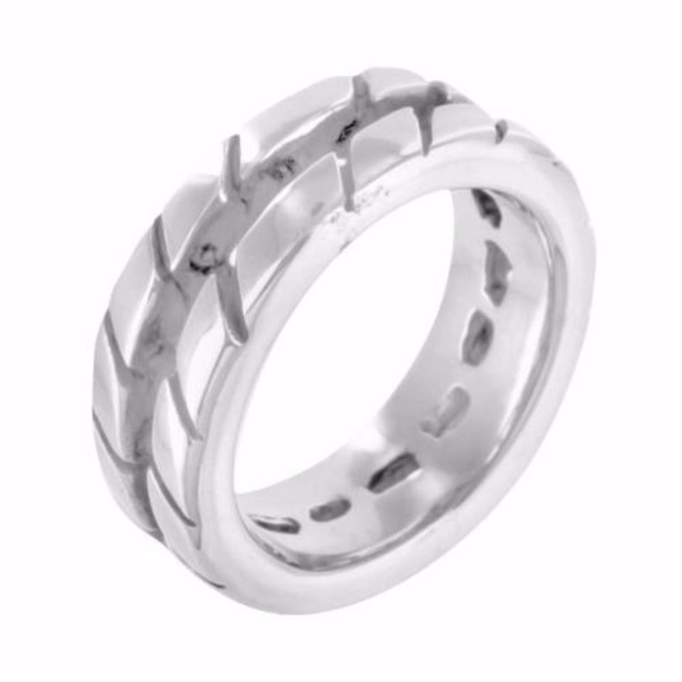 Tire Track Style Pinky Ring Mens Wedding Band 12345