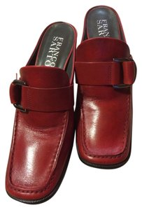 Franco Sarto 7 Leahter Heels Chunky Buckled Cherry Red Mules