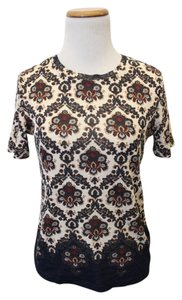 Tory Burch Floral T Shirt Navy Damask