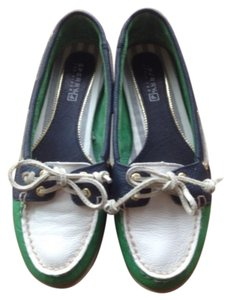 Sperry Green, blue, white Flats