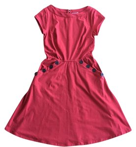 Modcloth short dress Red Knit Jersey Vintage Summer on Tradesy