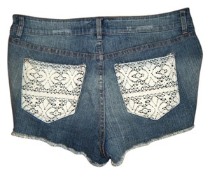 Forever 21 High-rise High-waist Cut Off Shorts Blue with White Lace Pockets