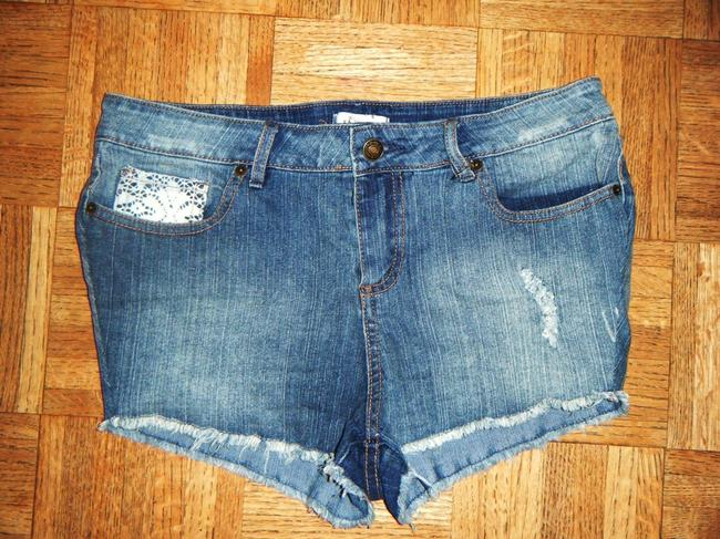 Forever 21 High-rise High-waist Sexy Cute Trendy Cut Off Shorts Blue with White Lace Pockets