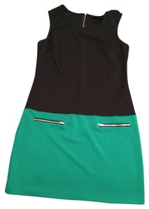 Cynthia Rowley short dress Black and Green Colorblock Mod Zipper Mini on Tradesy