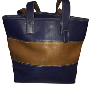 Coach Two-tone Tote in Blue/Brown