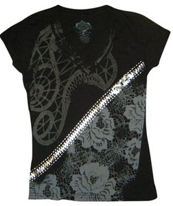 Bitter Sweet Punk Rock Black Roses Chain Zipper Goth T Shirt Black, Silver