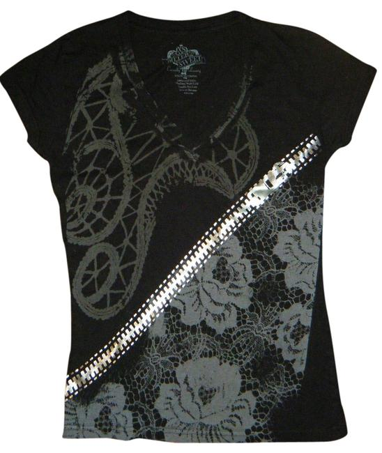 Bitter Sweet Punk Rock Roses Chain Goth T Shirt Black, Silver