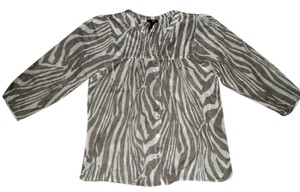 H&M Zebra Animal-print Peasant Top