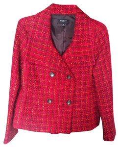 Talbots Red/Pink/Black Plaid Blazer