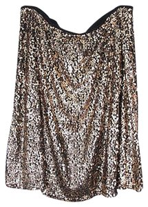 Ava & Viv Sequin Embellished Holiday Stretch 2x 3x 4x Skirt Gold, Black