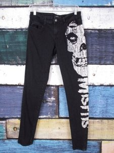 Iron Fist Black The Misfits Skull Stretch Goth Punk Skinny Pants Skinny Jeans