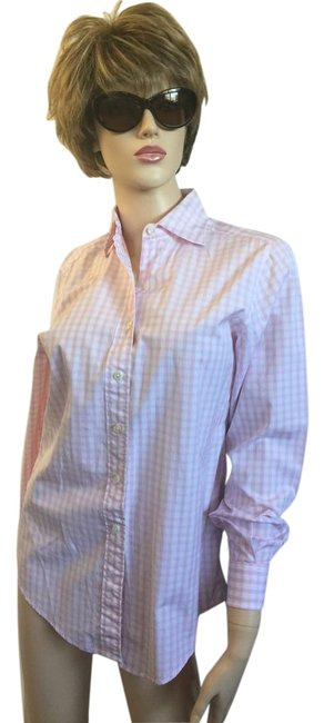 Item - Pink Gingham F By Button-down Top Size 10 (M)