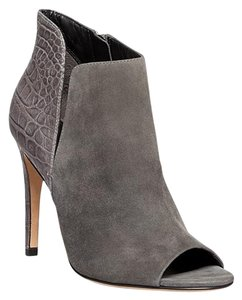 Sigerson Morrison Suede Open Toe Crocodile Leather Gray Boots