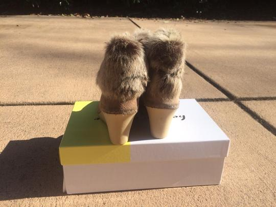 Bettye Muller Tan Suede With Fur Boots