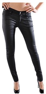 Coated Faux Leather Skinny Jeans