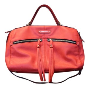 B. Makowsky New Leather Tassels Satchel in Watermelon