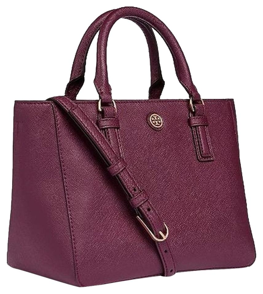 0b8236475cea Tory Burch Robinson Mini Square Burgundy Saffiano Leather Tote - Tradesy