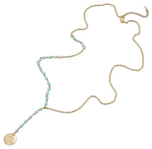 Other Women's Necklace Mixed Turquoise Blue Beads Charm Gold Plated Chain Pendant Collar