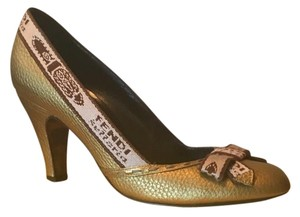 Fendi Gold/brown/cream Pumps