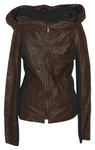 BCBG Mahogany Brown Leather Jacket