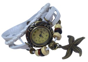 New Starfish Charm Watch Antiqued Gold White Band J2554