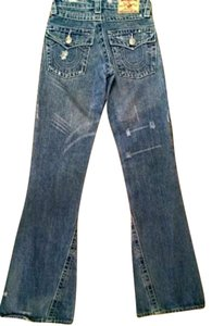 True Religion P1373 Size 25 Distressed Straight Leg Jeans-Distressed