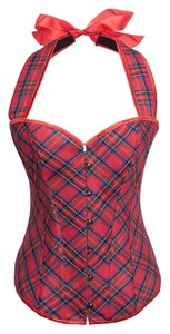 P2052 Corset Top red plaid