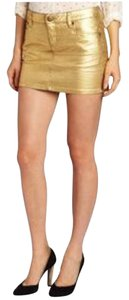 BCBGeneration Rocker Metallic Edgy Holiday Mini Skirt gold