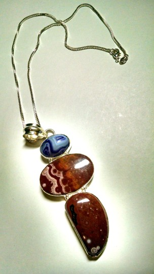 Other Jasper & Agate Gemstone Necklace Large Stone Brown Purple J493