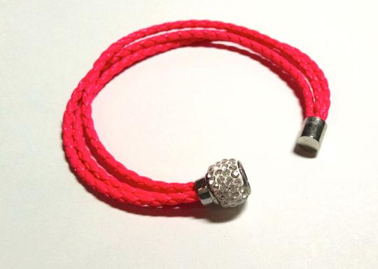 Other Hot Pink Leather 3 Strand Magnet Clasp Crystals Bracelet Jewelry J494