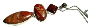 Other Mahogany Obsidian & Jasper Gemstone Pendant Necklace 925 Silver J495