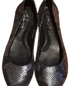 Crown by Børn Silver black snakeskin pattern Flats