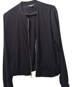 Express Zip Up Silk Cover Up Black Jacket