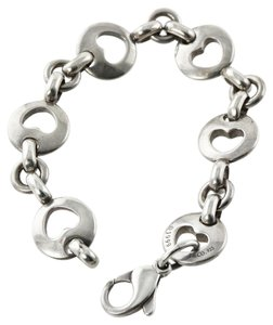 Tiffany & Co. Very RARE Tiffany & Co Sterling Silver 1999 Circle Round Open Stencil Heart Bracelet